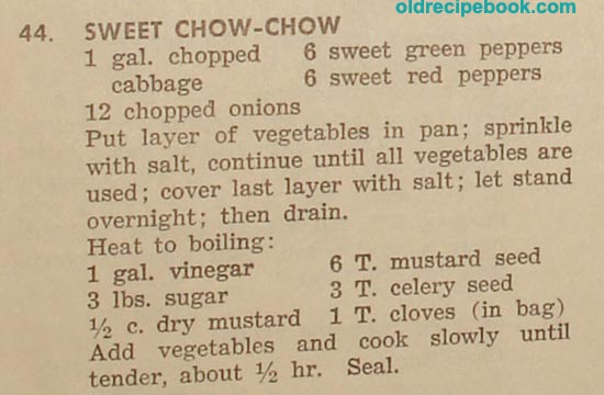 This recipe is for Sweet Chow Chow and uses cabbage, red and green ...