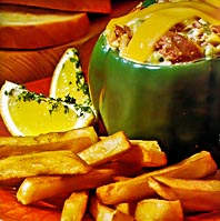 Stuffed Peppers and French Fries
