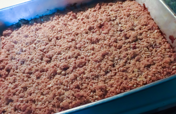 Raspberry Bars in the pan