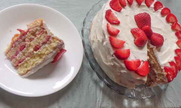 4 layer Strawberry Cake